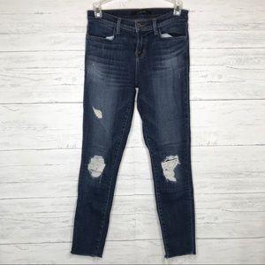 J Brand Mid Rise Skinny Jeans Distressed Dark Blue